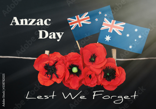 anzac day - Australian and New Zealand national public holiday, australian flag Canvas Print