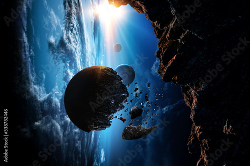 Abstract planets and space background Fototapet