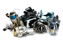 Different Fishing Reels Isolated