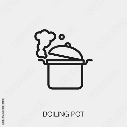 Fototapeta boiling pot icon vector. Linear style sign for mobile concept and web design. boiling pot symbol illustration. Pixel vector graphics - Vector. obraz
