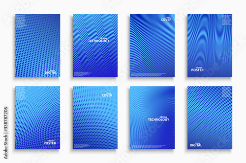 Papel de parede Collection of blue digital contemporary covers, templates, posters, placards, brochures, banners, flyers and etc