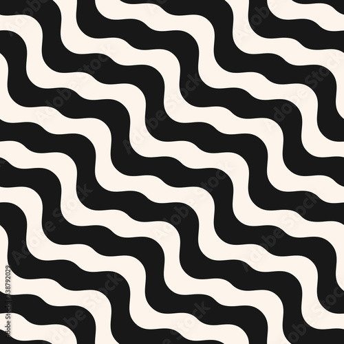 Fototapety, obrazy: Diagonal liquid lines seamless pattern. Vector abstract wavy texture. Simple black and white background with diagonal waves, stripes, fluid shapes. Repeat monochrome design for decor, prints, fabric