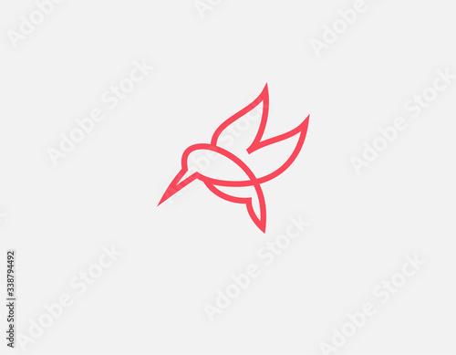 Fotografia Creative abstract linear red hummingbird bird logo icon for your company