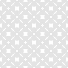 Subtle Abstract Floral Seamless Pattern. Simple Geometric Leaf Ornament. Vector Light Gray And White Background. Luxury Minimalist Texture With Diamond Shapes, Squares, Grid. Elegant Repeating Design