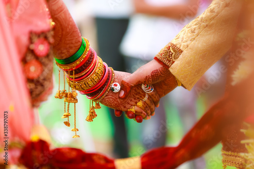 bride and groom hands , indian wedding Wallpaper Mural