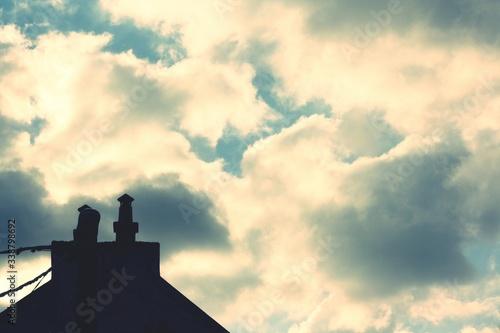 Silhouette Of Roof Against Sky Fototapet
