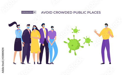 Fototapeta Avoid crowded place banner, coronavirus protection vector illustration. Masked man move away from group people to avoid infected with virus. Man and woman stand next to enlarged bacteria. obraz