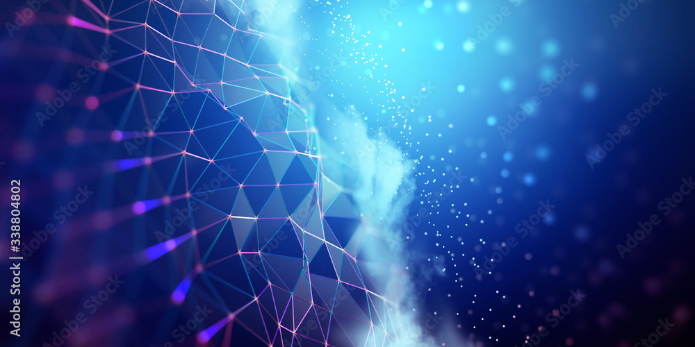 Fototapeta Big data and cybersecurity 3D illustration. Neural network and cloud technologies. Global database and artificial intelligence. Bright, colorful background with bokeh effect