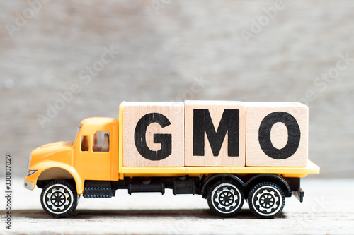 Truck hold letter block in word GMO (abbreviation of Genetically Modified Organi Canvas Print