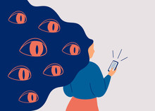 Spywares Spy Through The Phone. Big Eyes Peek From Hair At Smartphone Of Woman. Concept Of Safety Use Personal Data In Social Media And Internet. Vector Illustration