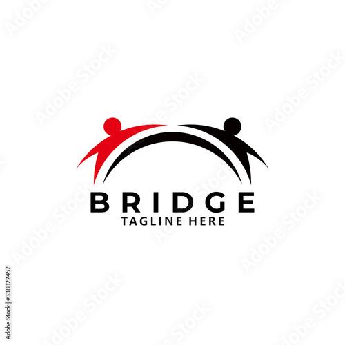 Cuadros en Lienzo bridge people logo icon vector isolated