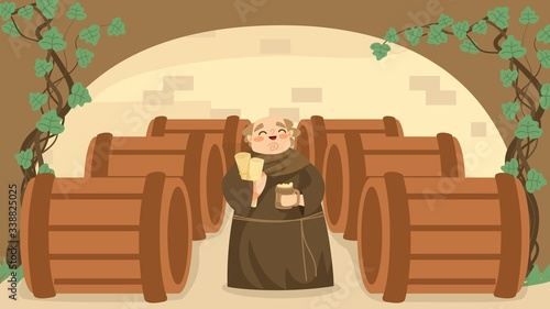 Photo Life in middle ages, cheerfully christian monk, wine cellar, bodega, old male character, flat vector illustration