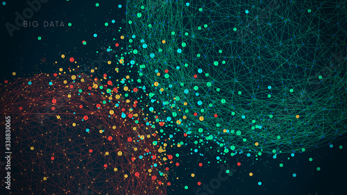 Futuristic technology for processing information flow, world big data network, v Canvas Print