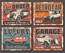 Retro Cars Garage Station Serv...