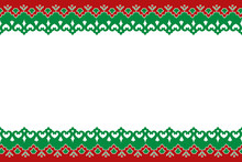 National Ethnic Ornament. Tatar Costume Pattern, Background, Red And Green Braid, Frame
