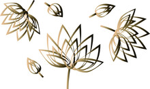 Golden Gradient. A Group Of Flowers And Buds Is Outlined. Lotus Lily Peony.