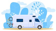 House On Wheels, Traveling Truck, Carries Bicycle, Camper Wagon, Palm Tree Leaf Background, Vector Illustration. Free Vacation, Travel Around Country By Car, Design Banner, Trip Exploring World.