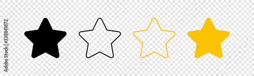 Stars icons. Stars in linear flat design. Star vector icon black and yellow color, isolated. Vector illustration