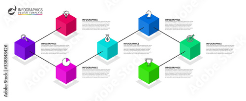 Fototapeta Infographic design template. Creative concept with 7 steps