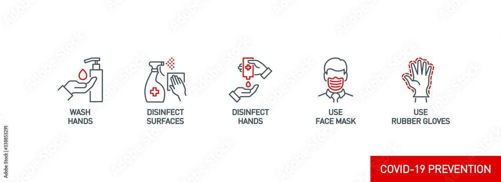 Fototapeta Prevention line icons set isolated on white. outline symbols Coronavirus Covid 19 pandemic banner. Quality design elements mask, gloves, distance, wash disinfect hands, stay home with editable Stroke