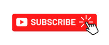 Subscribe Button For Social Media. Subscribe To Video Channel, Blog And Newsletter. Red Button With Hand Cursor For Subscription. Vector