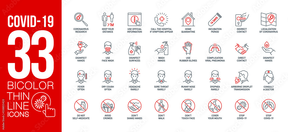 Fototapeta Prevention and symptoms Coronavirus Covid 19 line icons set isolated on white. Perfect outline health medicine symbols pandemic banner. Quality design elements virus treatment with editable Stroke
