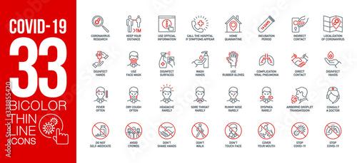 Carta da parati Prevention and symptoms Coronavirus Covid 19 line icons set isolated on white