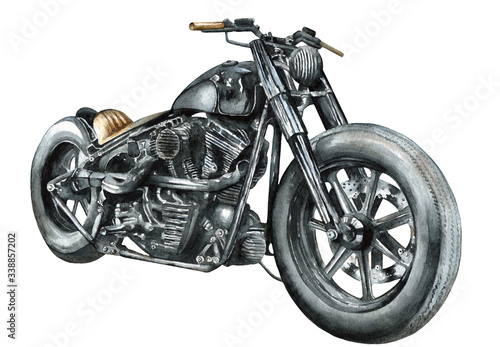 Motorcycle bobber painted in watercolor on paper, isolated drawing Tablou Canvas