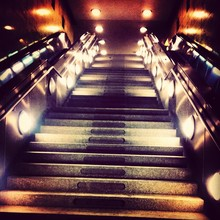 Close-up Of Illuminated Escalator