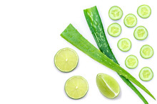 Loe Vera Leaf , Cucumber And Green Lime Isolated On White .