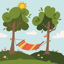 Summer Hammock With Trees In F...