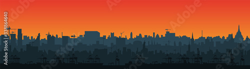 Long city skyline silhouette in a flat style for the footer. Modern cityscape and cargo port with cranes. Layers for parallax.  Vector EPS10. #338864640