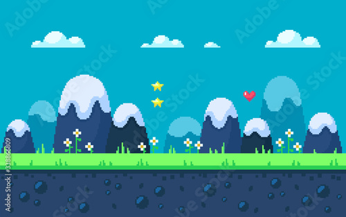 Cute meadow area with mountains and flowers. - 338866809