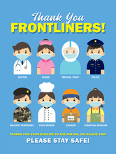 Thank You Frontliners Who Work For Nation During Coronavirus (covid-19) Outbreak Season. Cartoon Doctor, Nurse, Medical Staff, Police, Military Personnel, Food Server, Couriers & Essential Retailer.