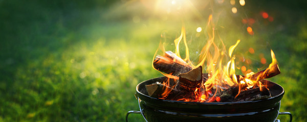 Roštilj s vatrom na otvorenom. Vatreni plamen