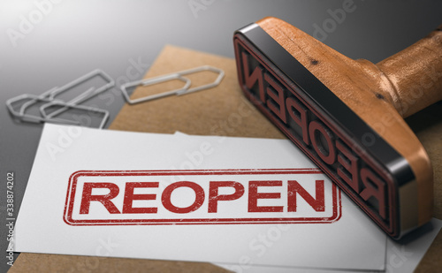 Reopen closed company or commerce. Communication concept. Canvas Print