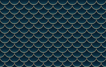 Abstract Vector Luxury Scales Pattern Background Gold And Dark Teal Blue Green Colors.