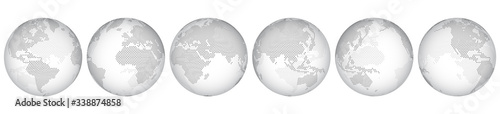 Obraz Set of six options for different locations of the globe, constructed from little hexagons. Isolated. Planet earth, abstract round map. Transparent sphere. - fototapety do salonu