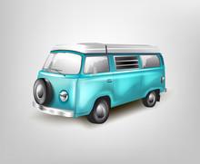Blue Retro Bus Vector Mockup On White Background. Isolated Passenger Van. Minivan For Travelling