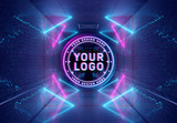 Neon Style Logo Projection in Underground Mockup - 338883898