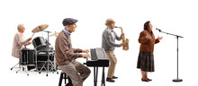 Music Band Of Elderly Keyboard Player, Drummer, Sax Player And A Singer
