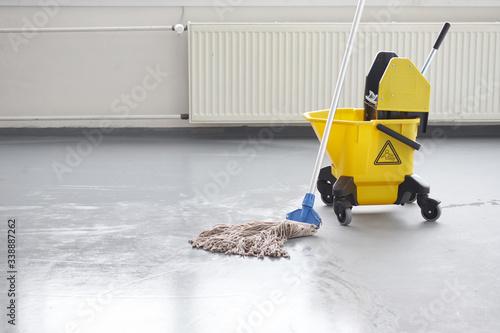 Slika na platnu Mop and bucket, janitorial service.