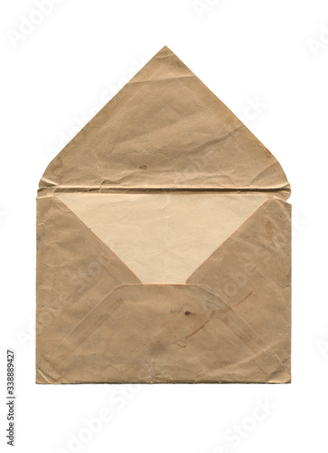 Fototapeta front view of old open aged paper envelope isolated on white obraz