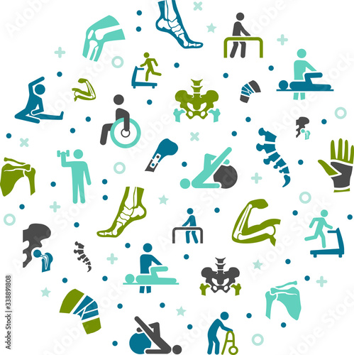 Obraz physiotherapy / orthopaedics vector illustration. Concept with connected icons related to skeletal and bone anatomy, physical therapy or chiropractic treatment. - fototapety do salonu