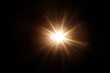 canvas print picture - Easy to add lens flare effects for overlay designs or screen blending mode to make high-quality images. Abstract sun burst, digital flare, iridescent glare over black background.