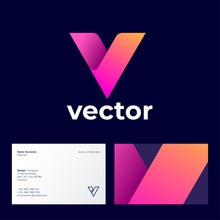 Vector Logo. V Abstract Monogram Consist Of Multicolor Ribbons. Identity. Business Card.