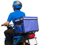 Delivery Man Wearing Blue Uniform Riding Motorcycle And Delivery Box. Motorbike Delivering Food Or Parcel Express Service Isolated On White Background