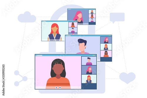 Obraz Video conferencing concept. Group of people have a conversation online. Four desktop screens with video call application. Vector flat style illustration isolated on white background. - fototapety do salonu
