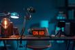 Leinwanddruck Bild - Live online radio studio with on air sign