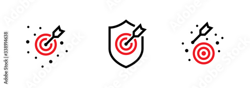 Set of the On Goal, Off the Aim and Hit Shield Targets icons Wallpaper Mural